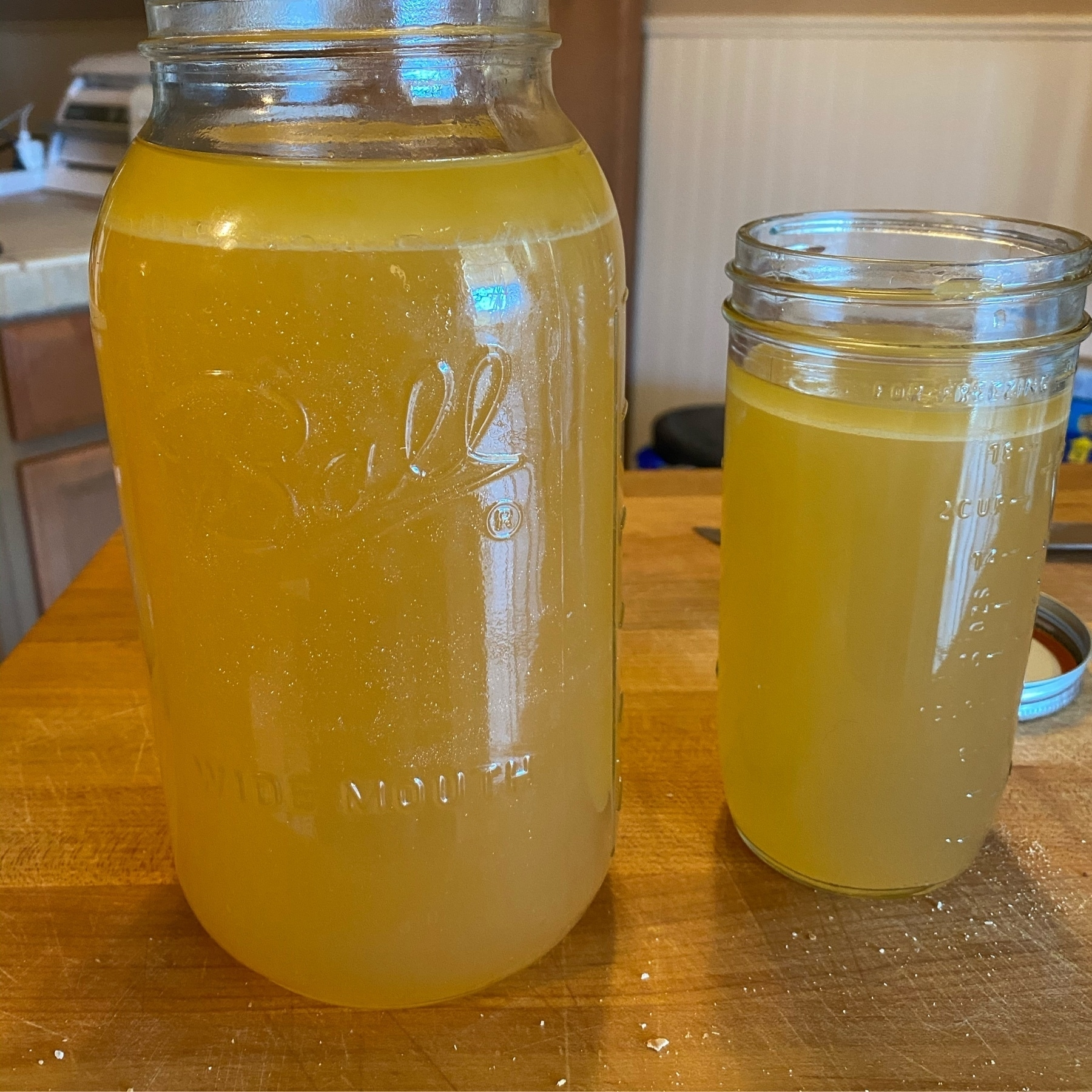 turkey stock in jars