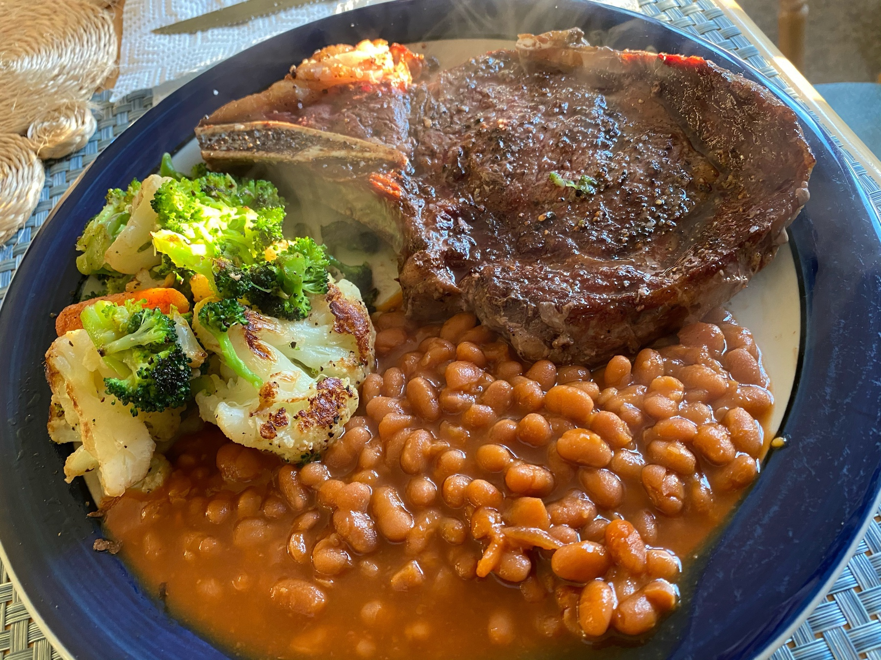 ribeye, searer vegetables, baked beans