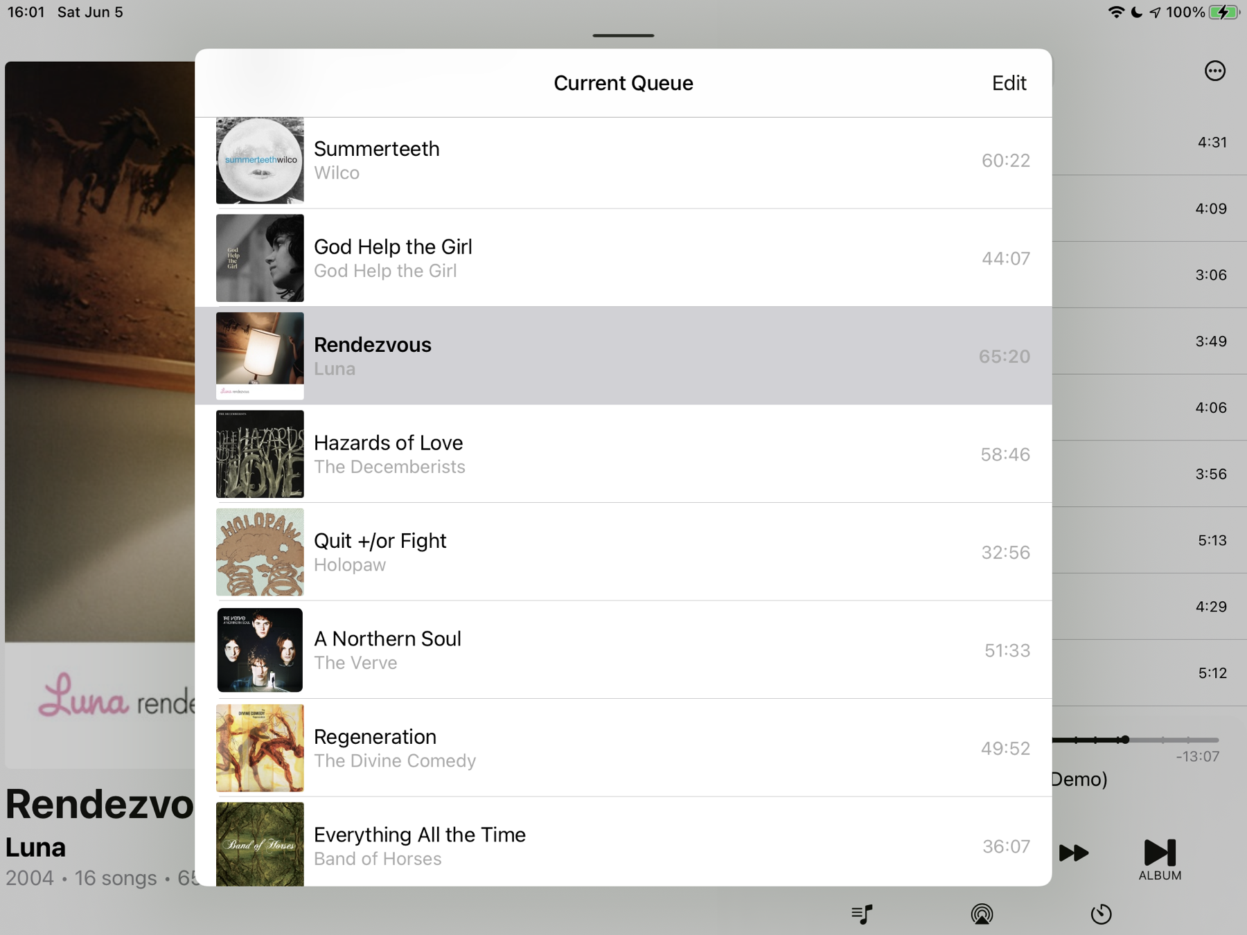 Albums app for iOS showing the queue as... albums. Lovely.