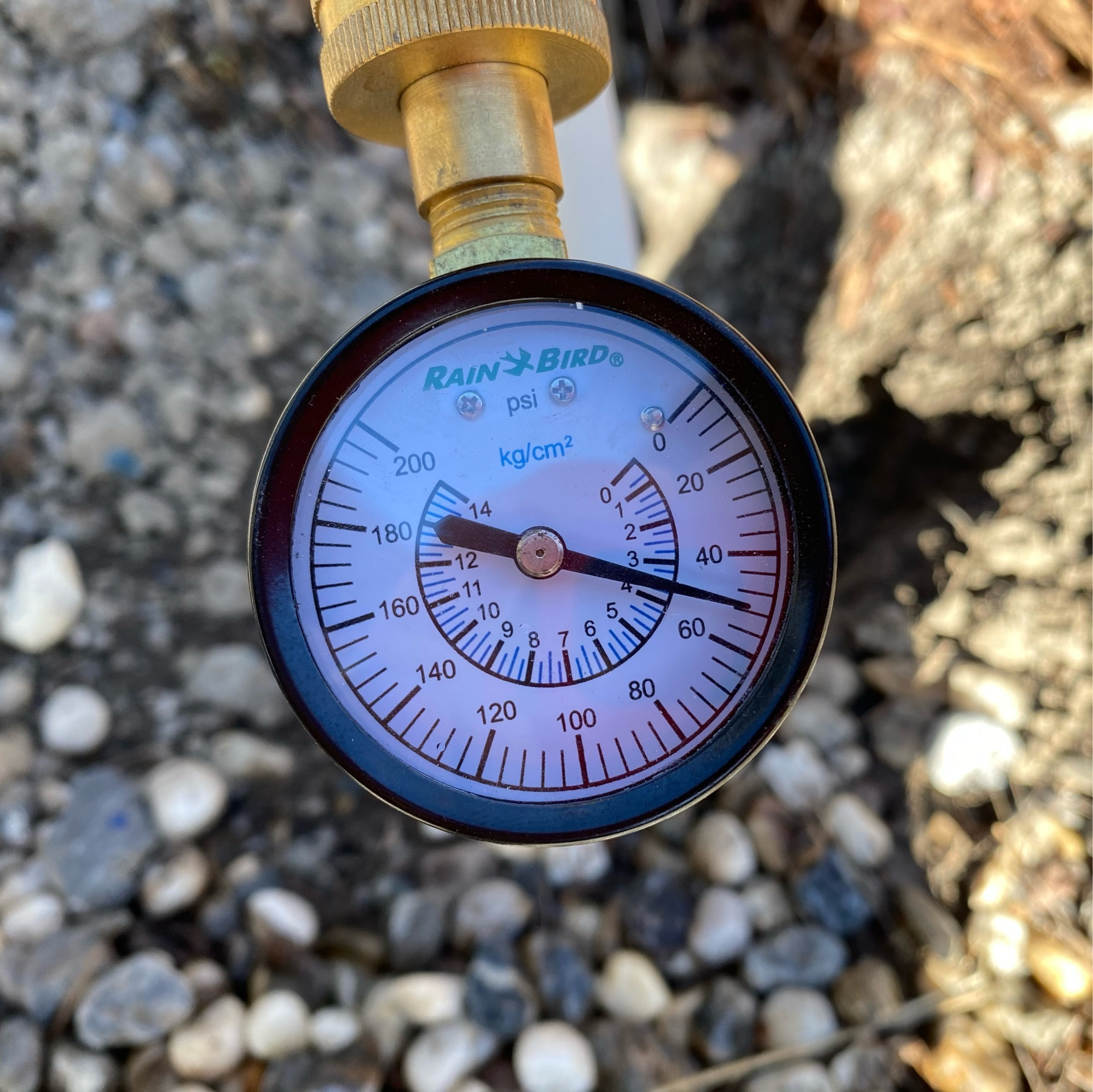 pressure gauge showing a reading of about 50 PSI.