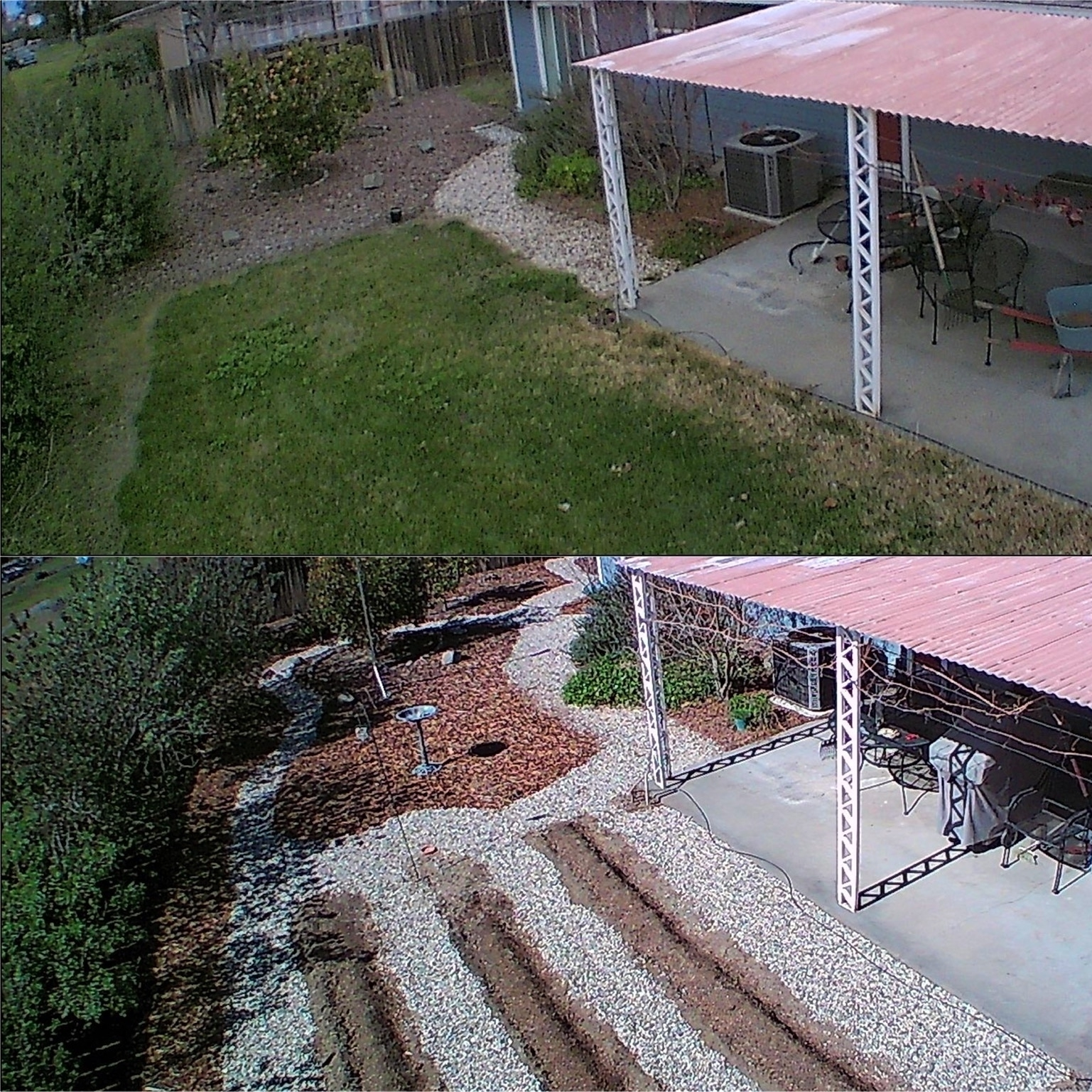 Jan 2020 photo of lawn on top and then a 2021 photo of new garden rows at the bottom